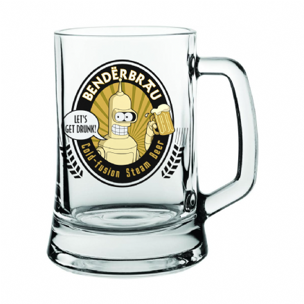 BenderBrau Cold Fusion Steam Beer Stein Glass based on Futurama
